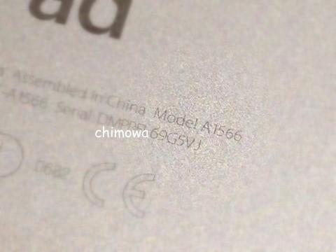 iPad裏面 モデル番号の画像